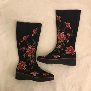 Beverly Feldman Suede Floral Knee High Boots